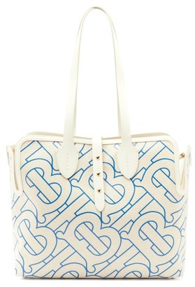 Burberry Tb-print Leather-trimmed Cotton Tote Bag - Blue Multi