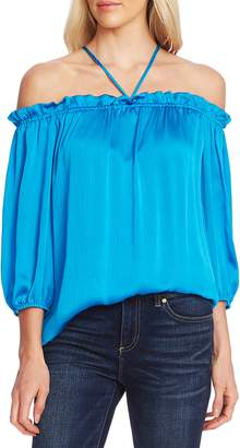 Vince Camuto Textured Halter Neck Off the Shoulder Top