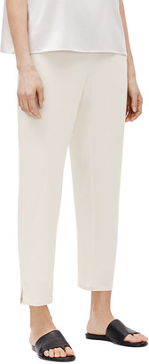 Eileen Fisher Petite Tapered Silk Pants w/ Side Slits
