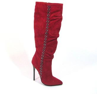 """The Highest Heel Highest Heel Fierce-71 4.5"""" Calf High Boots with Carbon Fiber Heel"""