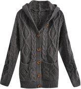 Azbro Women's Casual Single Breasted Cable Knit Hooded Cardigan
