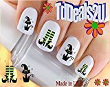 Holiday Halloween - Cat Witch Shoes Green WaterSlide Nail Art Decals - Highest Quality! Made in USA