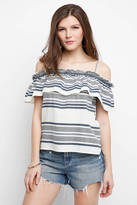 Splendid Cold Shoulder Ruffle Striped Tank Top