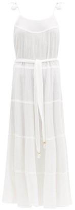 Melissa Odabash Tasselled-strap Belted Crinkle-cotton Dress - White