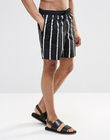 Asos Swim Shorts With Metallic Silver Stripe In Mid Length
