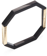 Maiyet 18K Yellow Gold, Black Horn & 1.38 Total Ct. Diamond Dagger Octagon Bangle Bracelet