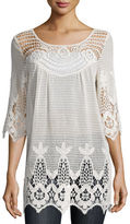 XCVI 3/4-Sleeve Crochet Tunic, Plus Size