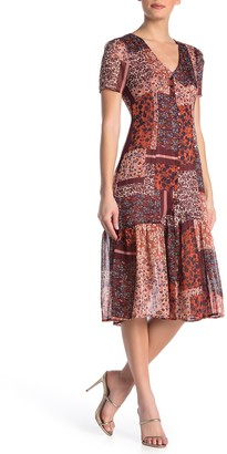 Nanette Lepore Floral V-Neck Short Sleeve Midi Dress