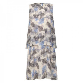 Rosemunde Blue and Grey Silk Print Dress - UK 12 - White/Black/Blue