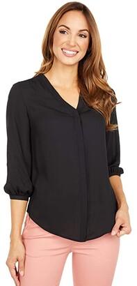 Lauren Ralph Lauren Pleated Georgette Top (Polo Black) Women's Clothing