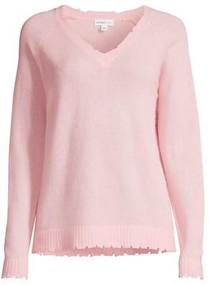 Minnie Rose Cashmere Distressed Sweater
