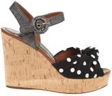 Dolce & Gabbana Wedge Sandals In Cork And Printed Cady