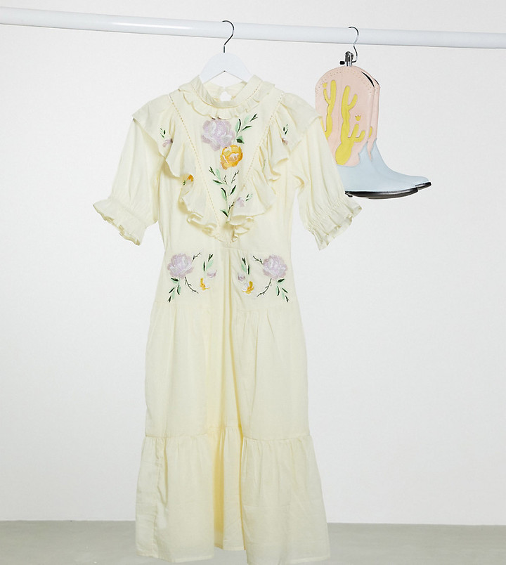 Reclaimed Vintage inspired midi high neck dress with embroidery