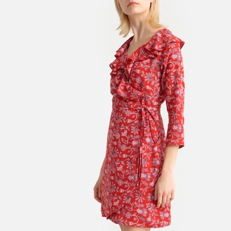 Compania Fantastica Floral Print Wrapover Dress with Tie-Waist