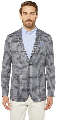Vince Camuto Performance Stretch Blazer (Grey/Navy Plaid Print) Men's Clothing