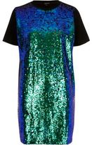 River Island Womens Turquoise sequin oversized T-shirt dress