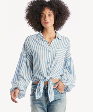 Sole Society The Good Jane Women's Breeze Lewis Shirt In Color: Blue/white Stripe Size XS From