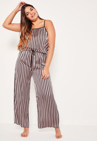 Missguided Plus Size Black Tie Side Striped Pajama Set