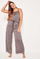 Missguided Plus Size Black Tie Side Striped Pyjama Set