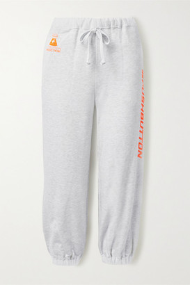 pushBUTTON Printed Cotton-jersey Track Pants - Light gray