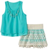 Beautees Girls 7-16 Floral Chiffon Tank & Lace Skort