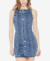 GUESS Lace-Up Sleeveless Denim Bodycon Dress