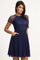 Little Mistress Navy Lace Detail Cap Sleeve Fit and Flare Dress
