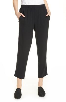 Eileen Fisher Tuxedo Stripe Tapered Silk Ankle Pants