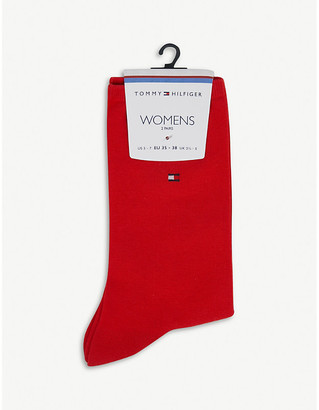Tommy Hilfiger Logo-embroidered casual cotton-blend socks pack of two