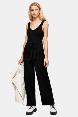 Topshop Womens Black Ribbed Slouch Jumpsuit - Black
