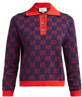 Gucci Gg-jacquard Cotton Polo Sweater - Womens - Navy Multi
