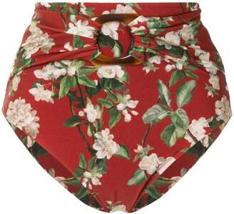 PatBO Floral Print High-Rise Bikini Bottoms