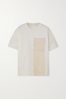 Jil Sander Fringed Crochet-paneled Cotton-jersey T-shirt - White