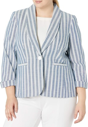 Nine West Women's Plus Size 1 Button Shawl Collar ROLL Sleeve Stripe Jacket
