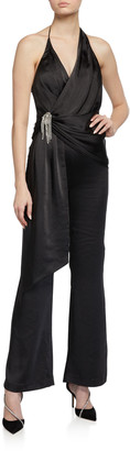 Misha Collection Rafaella Satin Halter Jumpsuit w/ Asymmetric Drape