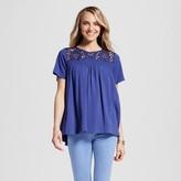 U-knit Women's Smocked Knit T-Shirt with Lace Illusion