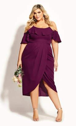 City Chic Flirtation Dress - cerise