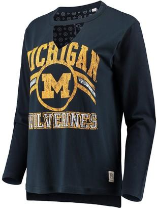 Women's Pressbox Navy Michigan Wolverines Scout Choker Long Sleeve T-Shirt