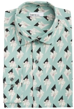 Bar III Men's Slim-Fit Performance Stretch Retro Lily-Print Dress Shirt, Created for Macy's