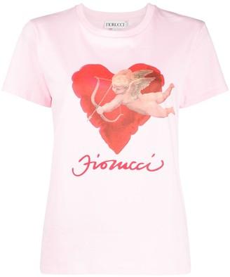 Fiorucci hearts cherub print T-shirt