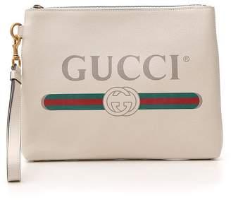 Gucci Logo Printed Clutch Bag