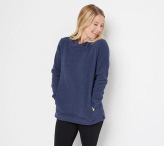 Denim & Co. Petite Chenille Fleece Tunic with Crossover Neckline