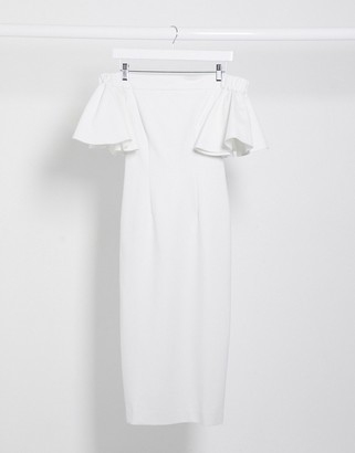 Aq/Aq AQAQ bardot ruffle sleeve midi dress in white
