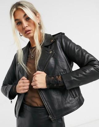 Muu Baa Muubaa cropped leather biker jacket in black