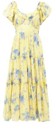 LoveShackFancy Emory Floral-print Cotton-blend Midi Dress - Yellow Print