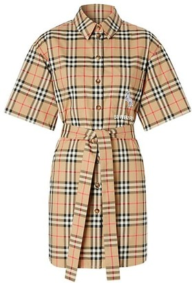Burberry Rachel Archive Check Short-Sleeve Shirtdress