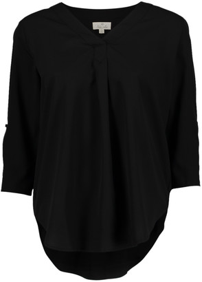 Très Jolie Women's Blouses Black - Black Pleated V-Neck Top - Women