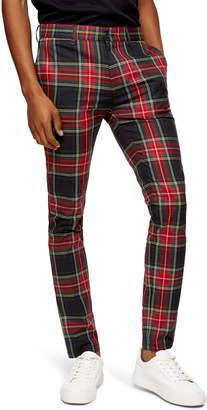Topman Tartan Stretch Skinny Fit Pants
