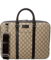 Gucci Gg Supreme Canvas Leather-Trim Briefcase
