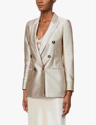 Reiss Maja metallic double-breasted woven blazer